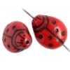 Glass Bead Ladybug 14x11mm Opaque Dark Red/black Painted